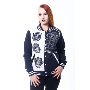 DOCTOR WHO - DOCTOR WHO VILLAIN VARSITY JACKET LADIES BLUE/WHITE