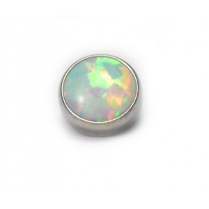 BODY JEWELLERY - White Cabochon Opal Flat Attachment